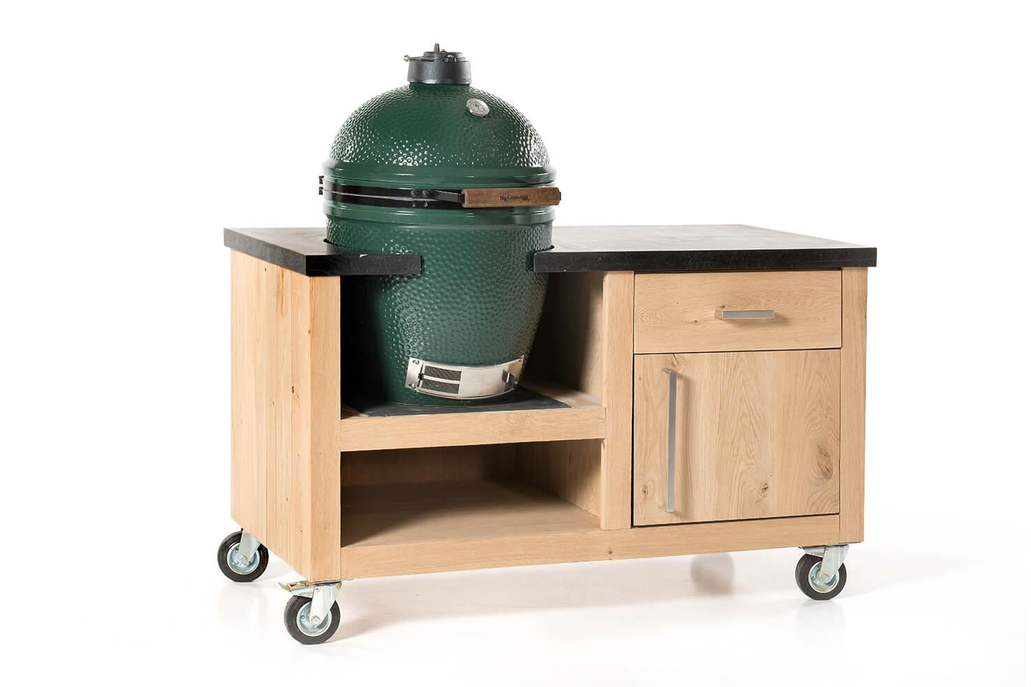 big green egg large eiken tafel natuursteen compact. Black Bedroom Furniture Sets. Home Design Ideas